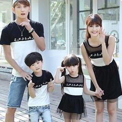Igsoo - Parents and Kids Panel T-Shirt / Sleeveless Dress