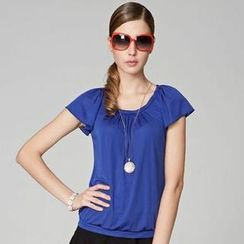 O.SA - Cap-Sleeve Pleated Top