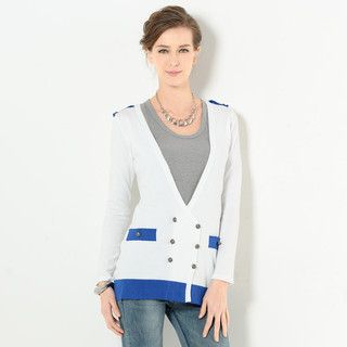 59 Seconds - Contrast Trim Double-Breasted Cardigan