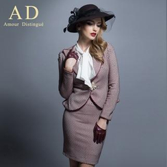 Aision - Set: Peplum Printed Jacket + Bowed Blouse + Pencil Skirt / Set: Jacket + Pencil Skirt / Jacket