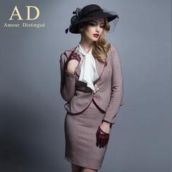Aision - 套装: 荷叶腰印花西装 + 蝶结衬衫 + 铅笔裙 / 套装: 西装 + 铅笔裙 / 西装