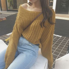 VeryBerry - Off-Shoulder Knit Top