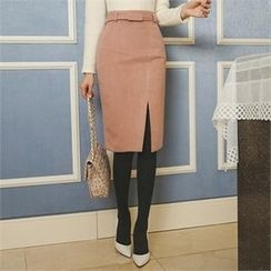 ode' - Slit-Front Pencil Skirt with Belt