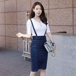 Seoul Fashion - Denim Suspender Skirt