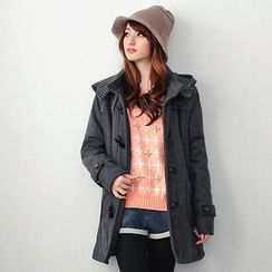 OrangeBear - Fleece-Panel Hooded Toggle Coat