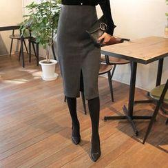 Cherryville - Fleece-Lined Midi Pencil Skirt