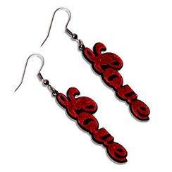 Sweet & Co. - Sweet Red Glitter Love Dangle Earrings