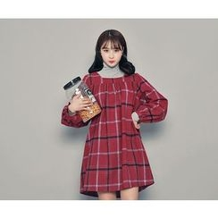 HOTPING - Square-Neck Checked Dress