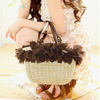 Tokyo Fashion - Appliqué Straw Bag