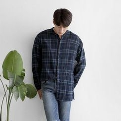 Seoul Homme - Open-Placket Boxy-Fit Check Shirt
