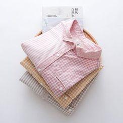 Rosadame - 格紋混麻襯衫