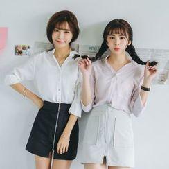 SUYISODA - Plain 3/4 Sleeve Shirt