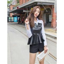 GUMZZI - Inset Shirt Faux-Leather Top