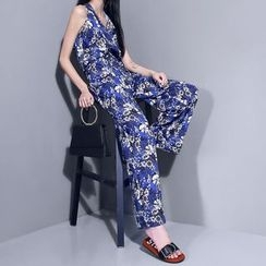 Sonne - Sleeveless Printed Halter Jumpsuit with Cord