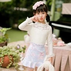 糖果雨 - 小童长袖蕾丝边雪纺上衣