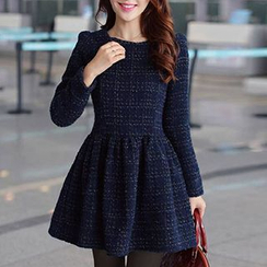 Fashion Street - Long-Sleeve Tweed Mini Dress