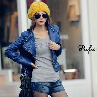 PUFII - Faux-Leather Biker Jacket