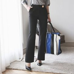 DABAGIRL - Metal-Accent Straight-Cut Dress Pants