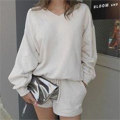 LIPHOP - Set: V-Neck Sweatshirt + Drawstring-Waist Shorts