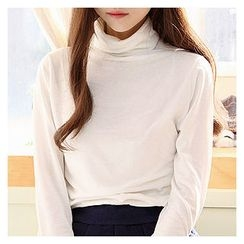 Sechuna - Turtle-Neck Long-Sleeve Top