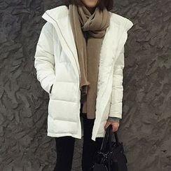 Bloombloom - Plain Stand Collar Down Coat