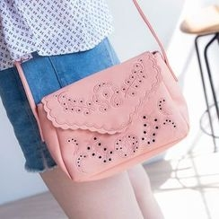 Tokyo Fashion - Faux-Leather Embroidered Cross Bag
