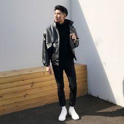 Mr. Cai - Faux-Leather Applique Buttoned Jacket