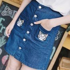 微米家 - 猫咪刺绣单排扣牛仔短裙