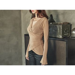 UUZONE - Long Sleeve V-Neck Wrap Top