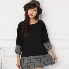 Mini Jule - 3/4-Sleeve Houndstooth-Panel Tunic