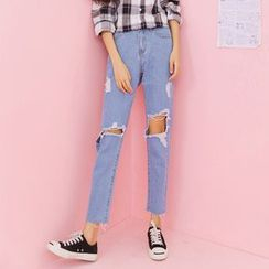 Duterena - Distressed Slim-Fit Cropped Jeans