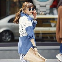 REDOPIN - Lace-Trim Denim Shirt