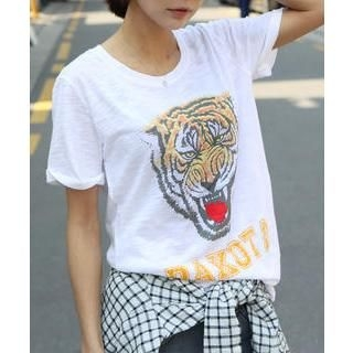 DANI LOVE - Tiger Print T-Shirt