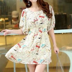 Swish - Printed Elbow-Sleeve Chiffon Dress