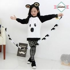 nanakids - Girls Set: Brushed-Fleece Lined Pullover + Checked Pants