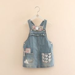 Seashells Kids - Kids Crochet Trim Striped Denim Pinafore Dress