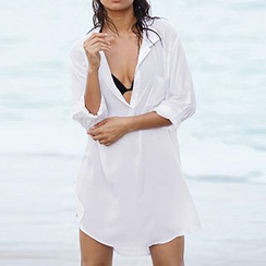 Sunset Hours - V-Neck Chiffon Cover-Up Shirt