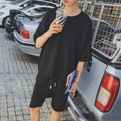 Danjieshi - Set: Elbow-Sleeve Plain T-Shirt + Shorts