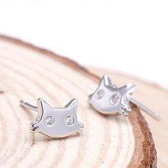 Zundiao - Sterling Silver Rhinestone Cat Studs
