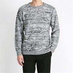 THE COVER - Crew-Neck Quilted Mélange Sweater