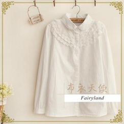 布衣天使 - Rounded Collar Lace Panel Blouse