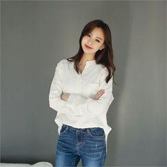 Styleberry - Half-Placket Pocket-Front Shirt