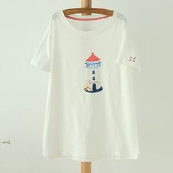 Angel Love - Lighthouse Print Short-Sleeve T-Shirt