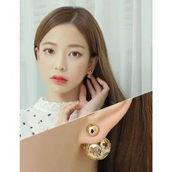 soo n soo - Flower Ball Double-Sided Earrings
