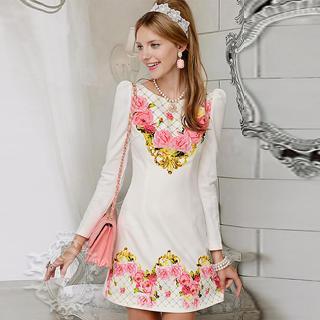 Dabuwawa - Long-Sleeve Floral Shift Dress