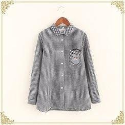 布衣天使 - 貓咪刺繡格紋襯衫