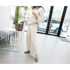 MARSHMALLOW - Maternity Set: Monk-Neck Top + Wide-Leg Pants