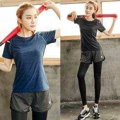 PUDDIN - Sports Set: Short-Sleeve Top + Inset Leggings