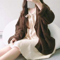 Dute - V領粗織毛衣