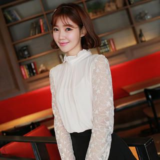 CLICK - Ruffled High-Neck Long-Sleeved Blouse